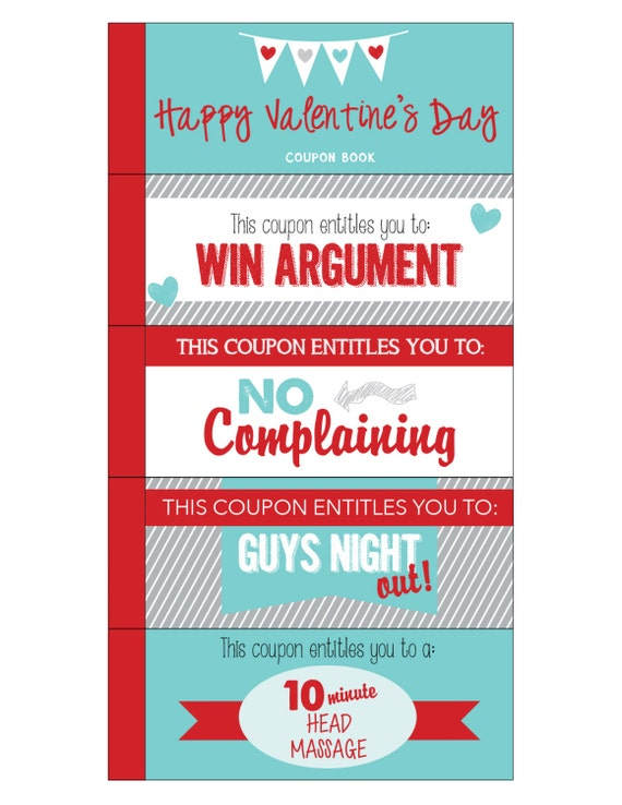 personalized coupon book template - valentine coupon book printable love coupons by