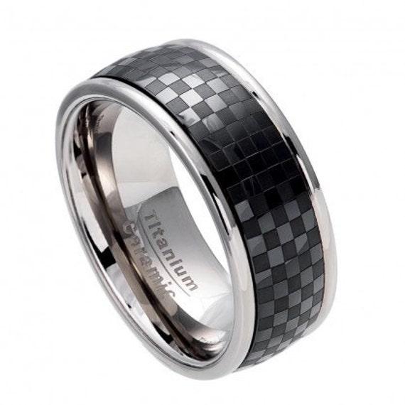 Men 39 S Black Ring Ceramic And Titanium Wedding By SIMPLEnUNIQUE
