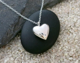 Silver Heart Necklace, Sterling Silver Puffed Heart Pendant, Love Jewelry, Gift for Her