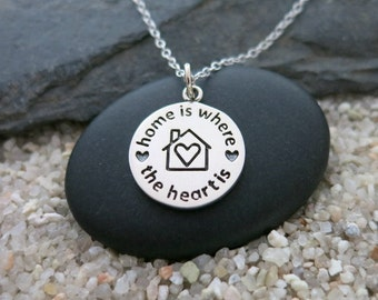 Home Is Where The Heart Is Necklace, Round Sterling Silver Charm, Quote Jewelry