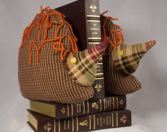 Hedgehog Bookends made from Re-Purposed Upholstery Fabric FREE SHIPPING!