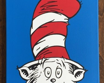 """Cat in the Hat inspired by Dr. Seuss: 12"""" x 12"""""""