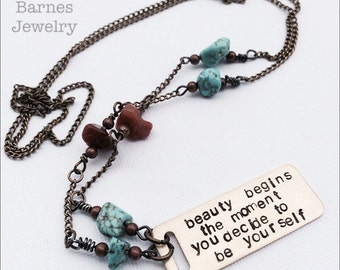 Coco Chanel quote necklace in bronze with turquoise and carnelian detail