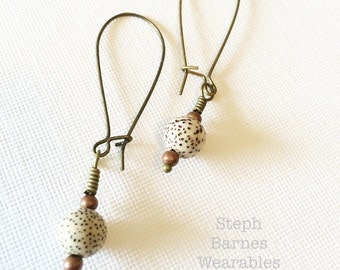 Lotus seed, mala bead earrings with mixed metal details