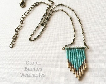 Fringe necklace in teal, cream and brown