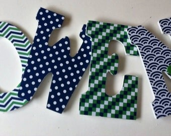 nursery wall letters,green and navy wood names boys or girls room,  Decorative letters,, baby letters, boys name, personalized items