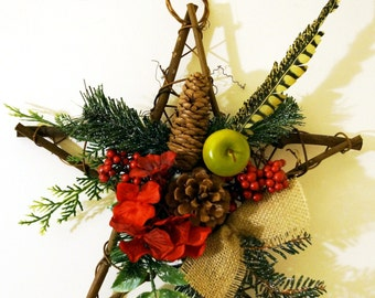 Rustic Star for Christmas , Winter Wreath, Christmas Door Wreath,Wall Decor with burlap