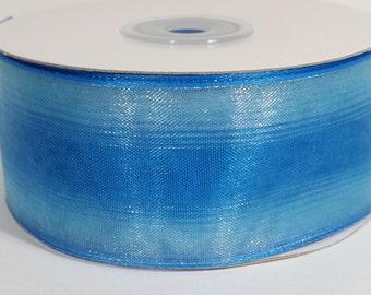 "1 1/2"" Two Toned Sheer Ribbon - Light Blue - 25 Yards"