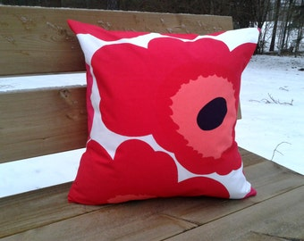 Pillow cover made from Marimekko fabric Unikko, cushion or throw pillow cover, Scandinavian design, mid century modern, red accent pillow