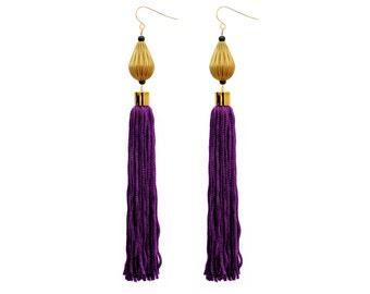 Purple Earrings, Long Tassel Earrings, Dangle Bead Earrings, Bohemian Statement Earrings, Boho Chic Earrings
