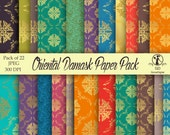 Damask Digital Paper Pack : 'Oriental Damask' - for scrapbooking, crafting, invitations, cardmaking - Jade Rose Jasmine