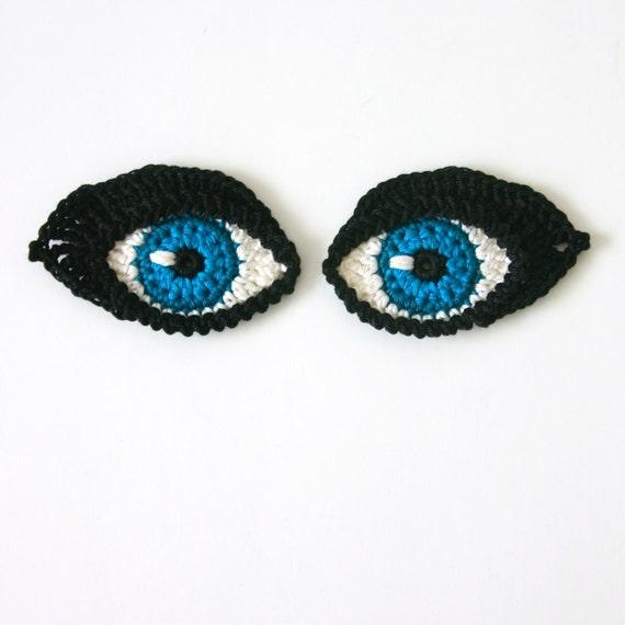 Amigurumi Eyes Patterns : Crochet PATTERN Eyes BOOKMARK and applique / motif for dolls