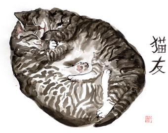 Two sleepy kittens - original ink watercolor drawing on fine quality watercolor paper