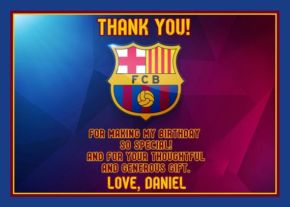 Items similar to FC Barcelona Team or Messi Thank you card soccer team, digital files ONLY on Etsy