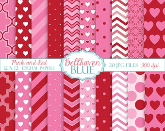 Pink and Red Valentine Digital Paper