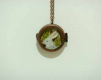 Hare embroidered pendant 5