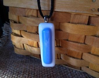 Sky blue fused glass pendant