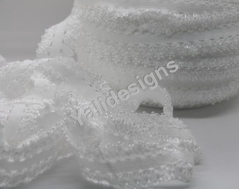U Pick 1or 5 or 10 yards White 3/4''  Picot Edge Stretch Lace, Frilly edges elastic webbing,Lace for Headbands,Wholesale Headbands YTA35A