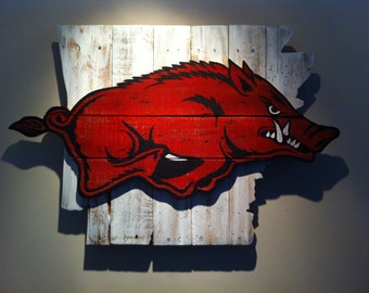 Wooden State of Arkansas with Razorback logo