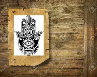 Hamsa hand - Temporary Tattoo