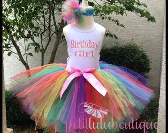 Rainbow Birthday Girl Tutu set any size available 12m to 9y Rhinestones FREE Headband