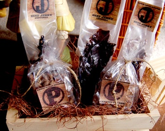 Gift Basket for Men, Homemade Beef Jerky & Candied Pecans in Decorative Crate