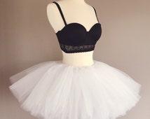 Short white tutu, race tutu, rave tutu, adult tutu, tutu skirt, custom made- fully sewn