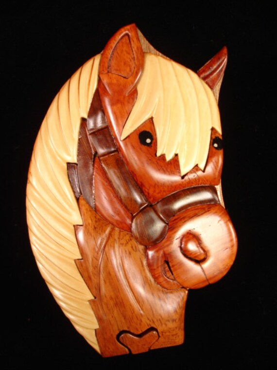 Hand carved wood art intarsia horse puzzle by myheritageusa