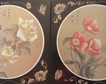 Vintage Picture Plaques Circa 1980's, Asian motif, handcrafted in Canada.Prints represent yellow roses, poppies & butterflys. A set of  two.