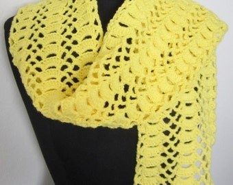 Yellow Scarf- crochet with a bright yellow acrylic sport yarn & a fan trellis stitch.  A lovely gift idea for someone special in your life.