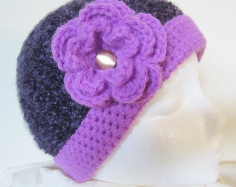 Ladies Lavender Flower Hat- is striking in appearance & will keep you cozy and warm while enjoying the great outdoors. Crochet, a great gift