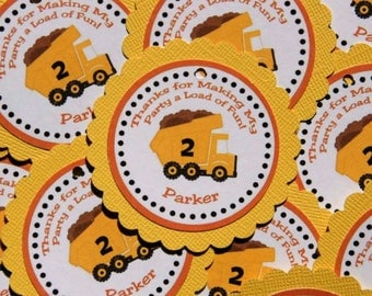 Construction Zone Thank You Favor Tags - Set of 12 Personalized Birthday Party Decorations, Dump Truck