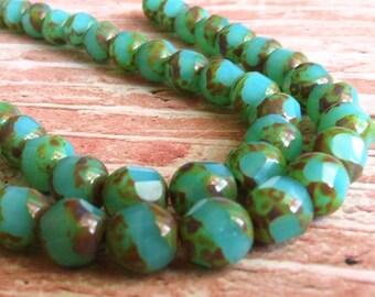 Czech Glass Beads, Faceted Teal Czech Beads, Etched Glass Beads, Preciosa Beads 8 pieces
