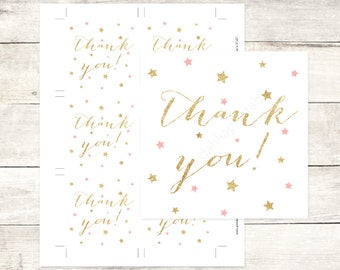 pink gold twinkle star baby shower favor tags gold glitter favour tags baby shower thank you cards