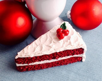 Red Velvet Cake Christmas Ornament, Red and White Decoration, Cream Cheese Icing, Holly, Cherry, Faux, Fake Southern Dessert
