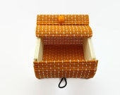 SALE - Round Corners Orange Square Box, Orange Bamboo Square Box, 8x8cm and 4cm Thickness, Container, Gift Box, Handmade