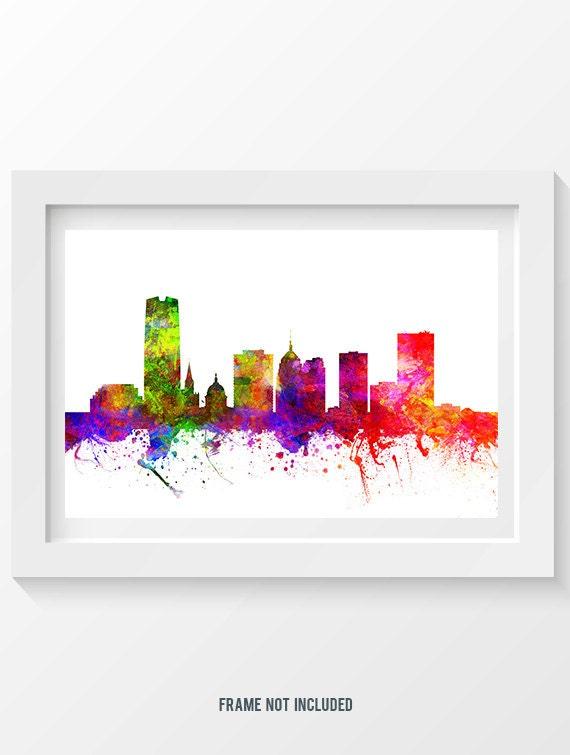 Oklahoma City Oklahoma Skyline In Color Poster Home Decor