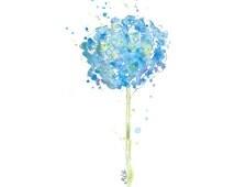 Watercolor Hydrangea Print of My Original Painting - Watercolor Flower Painting, Nursery Wall Decor, Flower Art Print, Giclee Art Print