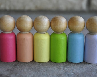 Springtime Wooden Peg Dolls - Set of 6 - A Waldorf and Montessori Inspired Wooden Springtime Toy - Easter Toy