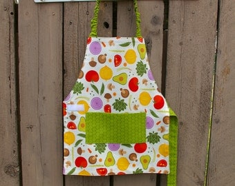 Mixed Veggies Self-Sufficiency Apron - A Montessori PreSchool Apron - Fits 3-5 Year Olds