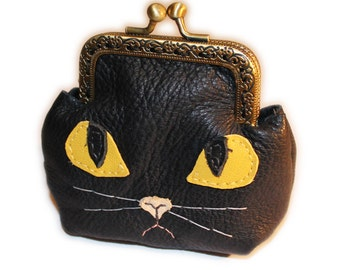 Black leather cat coin purse