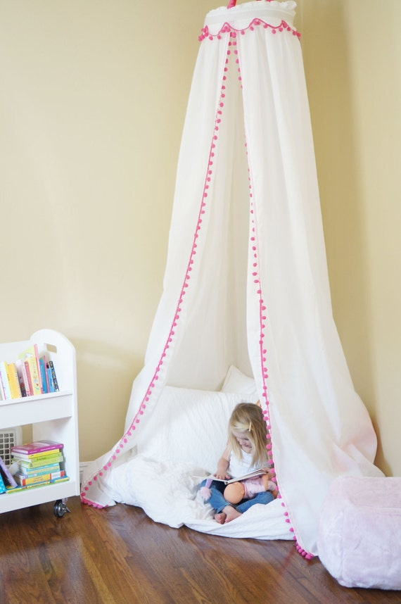 & Items similar to Play Tent Pom Pom Play Canopy Reading Nook on Etsy