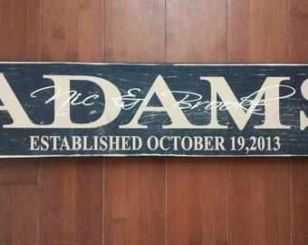 Family Established Sign, Wood Sign, Wedding Gift, Housewarming gift