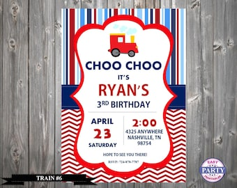 Train Invitation, Train #6, Huge Selection, Transportation, Easy Party Printables, Personalized, Printable, Invitation,  5x7, Choose colors