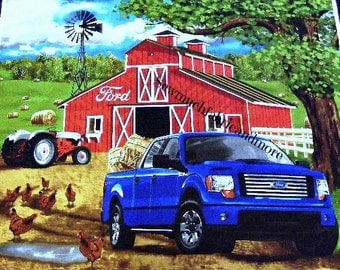 "Ford F150 Truck Farm Fabric Panel~For quilt or wall~U-SEW~36""x44""~Barn~Windmill~Tractor~Country"