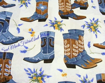 Greetings From Texas Fabric~by the yd~Robert Kaufman~Cowboy Boots~Western~Horseshoes~CHAMBRAY BLUE