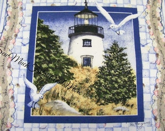 "Pair~Diane Morgan's BY THE SEA fabric pillow panels~Lighthouse~seashells~17""x18""~cotton~Nautical~Inspirational"
