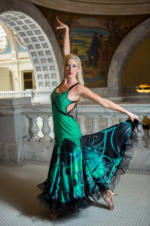 Elegant Emerald Ballroom Dance Dress