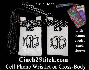 "Cell Phone Wristlet or Cross Body - In The Hoop - Machine Embroidery Design Download (5"" x 7"" Hoop)"