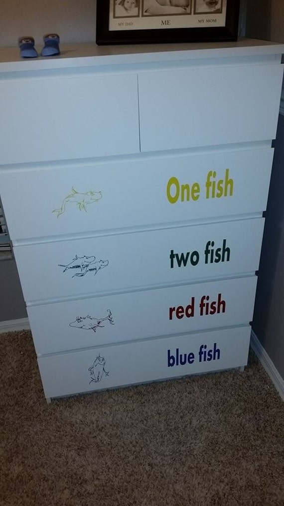 Items Similar To On Sale Dr Seuss Inspired Nursery Decals One Fish Two Fi